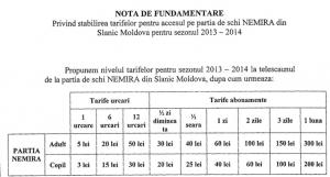 Propunere tarife pârtia de sky Slănic Moldova